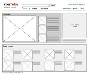 تصویر نمونه اولیه سایت یوتیوب